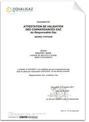 Attestation de Certification QUALIGAZ - Octobre 2011